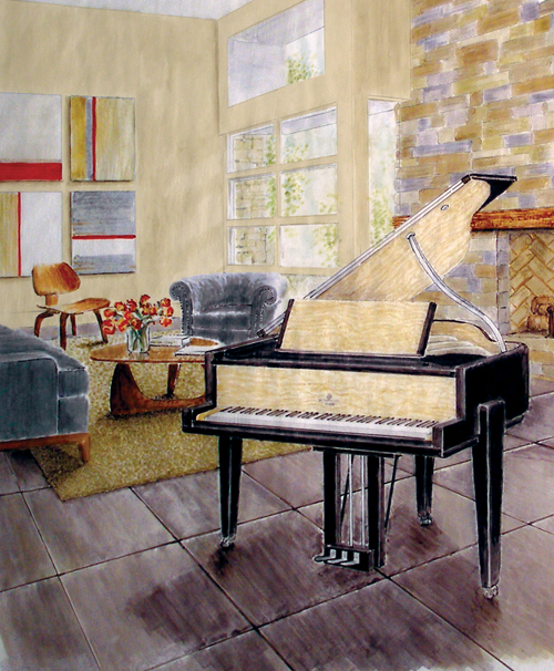 Manhattan Grand Piano Illustration
